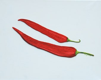 Red Chillies String Art Painting - Original Unique Kitchen Picture - Great Gift - Made to Order