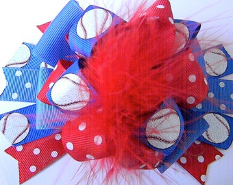 Baseball Hair bow Over the Top Bow Boutique Style