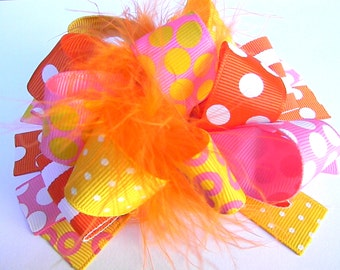 Orange and Yellow Hair bow Over the Top bow Boutique Style