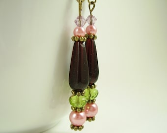 Cranberry Tender Earrings, Cranberry, Red Earrings, Olivine, and Antique Rose Earrings