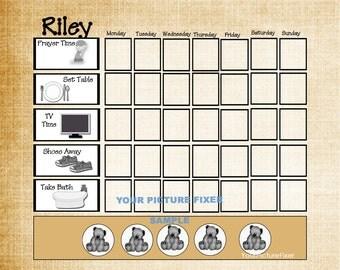 Weekly Chore Chart - Boy or Girl