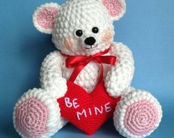 VALENTINE TEDDY BEAR Pdf Crochet pattern