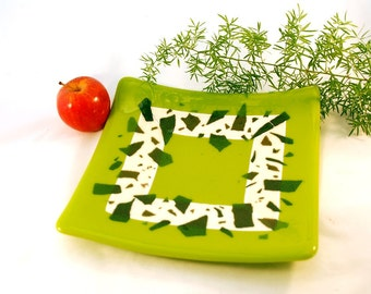 Fused glass green plate, with almond and adventurine green confetti