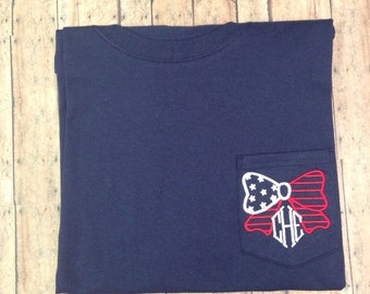 American flag bow monogram SHORT SLEEVE t shirt