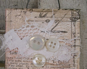 Original Collage Vintage Collage Altered Mixed Media Vintage Button Collage Vintage Mixed Media Altered Art  Vintage Shabby White