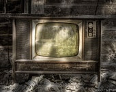 No One's Watching, Vintage Television, Abandoned Barn, Old Newspapers, Rustic Scenic fine Art Photography