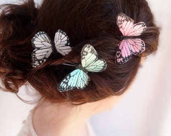 pastel pink butterfly hair accessory, hair pin butterflies, light pink monarch - FLUTTERBY - pink butterfly bobby pin, flower girl wedding