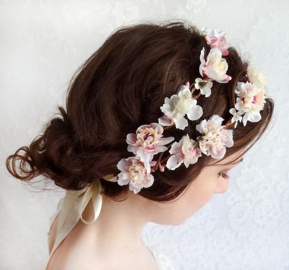 Bridal Ivory Flower Hair Accessories : Bridal flower crown wedding hair accessories ivory floral
