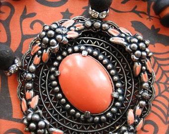 Hauntingly Beautiful-Antique Vintage Enamel Halloween Assemblage Necklace