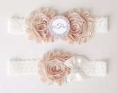 Champagne and Ivory Lace Garter Set - Personalized Garter Set - Bridal Garter with Toss Garter