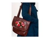 Vegan Handbag, Adjustable Strap, Brown Faux Leather, READY TO SHIP