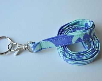 Fabric Lanyard for ID badge, keys in Amy Butler's Bali Gate Periwinkle