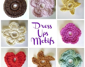 Crochet Accessory PATTERN- Motifs to Adorn Hats Bags Jackets Purses Hair Clips- Dress-Ups Pattern ONLY