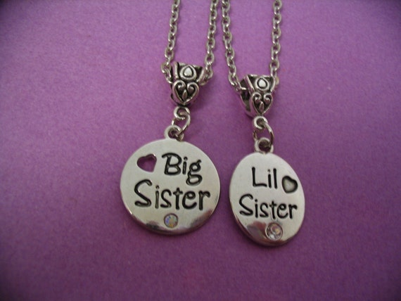 big sister little sister necklace set jewelry by