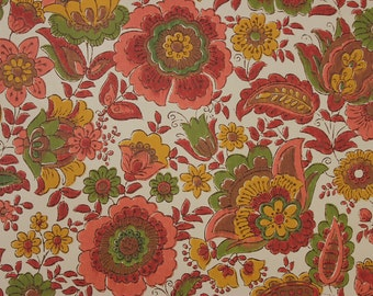 1960s Vintage Wallpaper Retro Red Brown and Green Flowers on White by the Yard