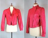 Vintage 80's leather jacket / Cropped motorcycle jacket / Hot pink leather coat