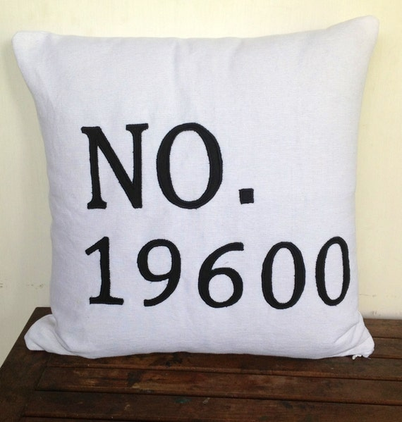 House Number Pillow -White and Black Outdoor Pillow Cotton Monogrammed 16 inches