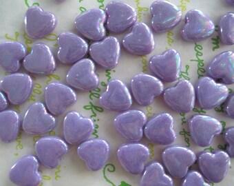 Small Flat Heart BEADS 20pcs AB Purple
