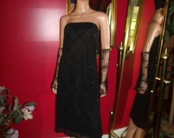 Black  Sequins accent Vintage 80s  Flapper Dress  Garden  Tea Party  20's Theme Size M