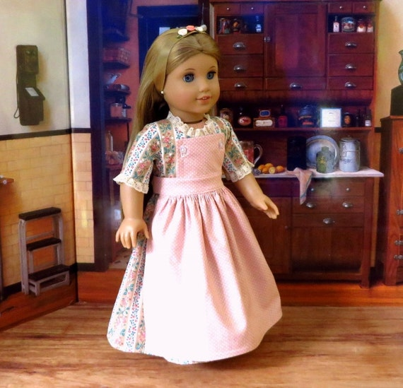 Colonial Dress, Pinner Apron, Ribbon Pompon - American Girl Felicity or Elizabeth Doll Clothes