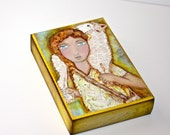 Young Good Shepherd - Aceo Giclee print mounted on Wood (2.5 x 3.5 inches) Folk Art  by FLOR LARIOS