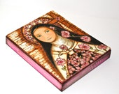 The Little Flower of Jesus - Giclee print mounted on Wood (5 x 7 inches) Folk Art  by FLOR LARIOS