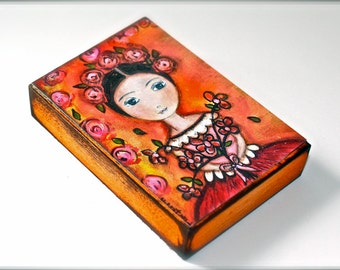 Girl with Flowers - Aceo Giclee print mounted on Wood (2.5 x 3.5 inches) Folk Art  by FLOR LARIOS