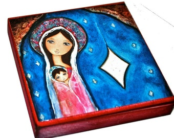 Nativity Star III -   Giclee print mounted on Wood ( 8 x 8 inches) Folk Art  by FLOR LARIOS