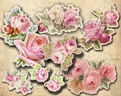 CUT OUT ROSES Collage Digital Images -printable download file Scrapbook Printable Sheet