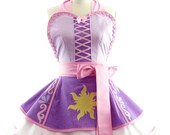 Retro Apron - Rapunzel Entangled Womans Aprons - Vintage Apron Style - Pin up Rockabilly Cosplay Lolita