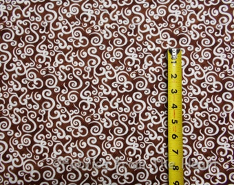 Le Petite Bistro White Swirly Curls on Tans BY YARDS Wilmington Cotton Fabric