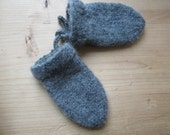 grey felted mittens with knit cord attachment, medium size (approx. 6-24 months)