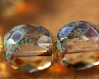 sale .. CLEARLY SLABS .. 6 Picasso Czech Table Cut Glass Beads 12mm (2461-6)
