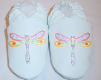 baby girl mocassins ,white leather shoes , white dragonfly shoes