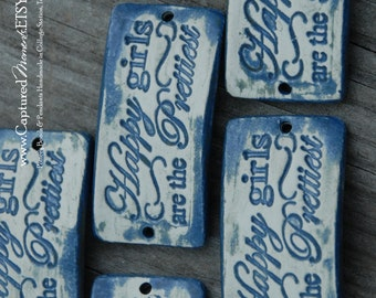 Pottery cuff bead, Happy Girls are the Prettiest in Stormy Blue