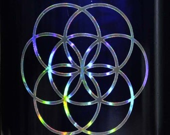 Seed of life sacred geometry shimmer chrome vinyl decal