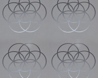 Seed of life sacred geometry silver SET of 4 vinyl decals