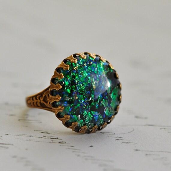 green opal ring vintage glass opal emerald by elvesgarden