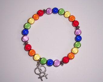Handmade lesbian Double Venus miracle bead stretch bracelet