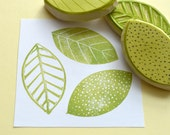 three leaf hand carved rubber stamp set, hand carved pattern stamps, handmade rubber stamps