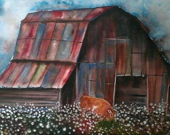 NEW Cow and Cotton Patch, Framed, ORIGINAL watercolor painting with ink