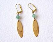 Gold dangle earrings leverback - green jade earrings