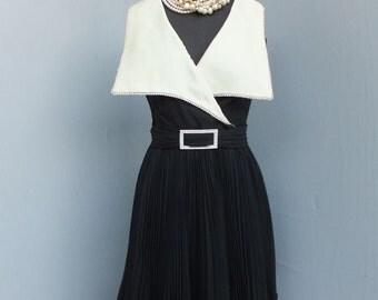 1960s Vintage Jack Bryan Black Flouncy Pleated Chiffon Dress / Cocktail or Dinner Dress w/Large Silk Rhinestone Studded Collar