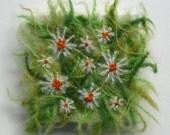 Daisies - miniature textile art canvas, hand embroidery, dissolvable fabric
