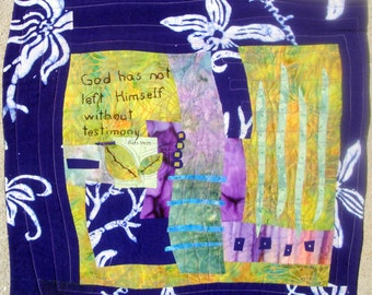 """Landscape Purple Batik """"Testimony""""  Quilted Wall Art Hanging Acts 14:17"""