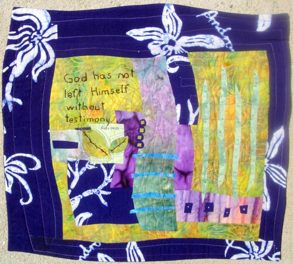 "Landscape Purple Batik ""Testimony""  Quilted Wall Art Hanging Acts 14:17"