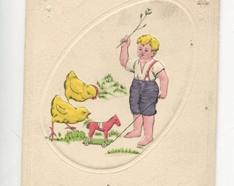 Easter postcard, vintage postcard, antique postcard, Easter, paper ephemera, Blond Boy with Chicks, horse pull toy Easter vintage postcard
