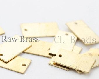 40pcs Raw Brass Rectangle Charm - 15x8.5mm (1694C-T-65)