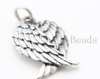 ONE Piece of  Sterling Silver Wing Pendant - 18x13mm