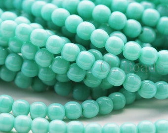 100pcs Czech Pressed Glass Round-Green Turquoise 4mm (5313)(B-18-7)